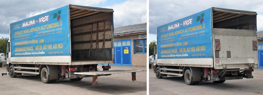 Hydraulické čelo na nákladním voze