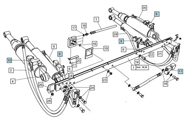 Schéma hydraulického čela