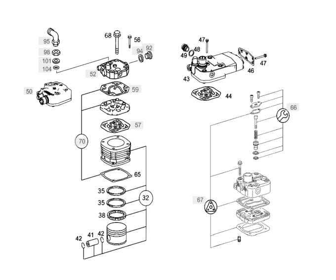 Rozložený kompresor