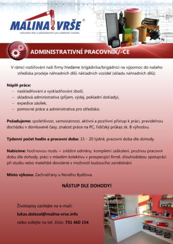 Administrativní pracovník/-ce